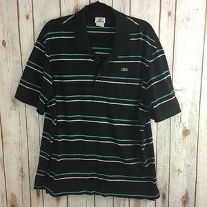 Lacoste Men sz XXXL Black Stripe Cotton Polo Shirt